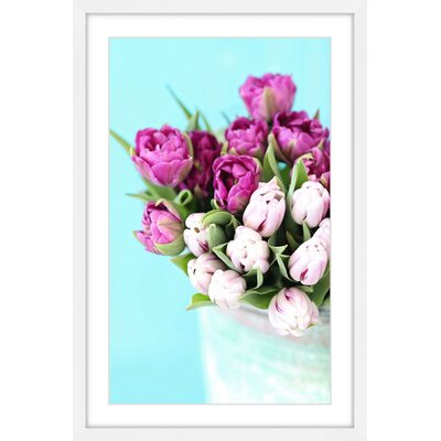 """'Pink and Purple Tulips' by Sylvia Cook Framed Painting Print Size: 12"""" H x 18"""" W x 1.5"""" D MH-SYLCOO-17-WFP-18"""
