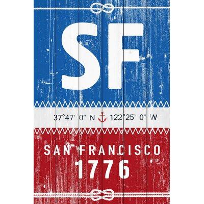'San Francisco Circa 1776' Textual Art on Wood in Blue/Red MH-JFNEIB-604-WW-18