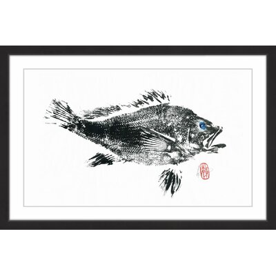 'Large Black Bass' Framed Painting Print MH-ANDCLA-44-BFP-60