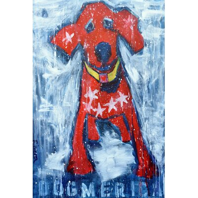 'Red Star Puppy' Painting Print on Wrapped Canvas Size: 18
