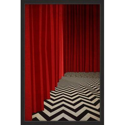 'Black Lodge Red Room' Framed Graphic Art Print Size: 18
