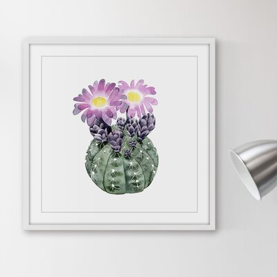 'Cactus Bloom IV' Framed Painting Print Size: 12