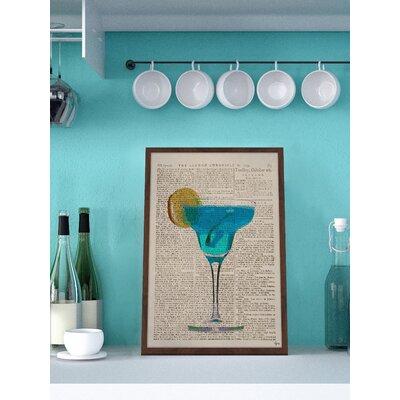 'Blue Margarita' Framed Painting Print Size: 18