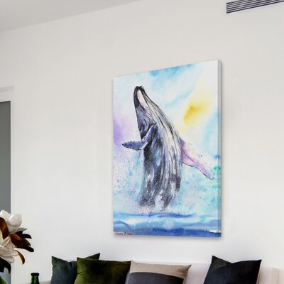 'Ballerina Whale' Painting Print on Wrapped Canvas Size: 18