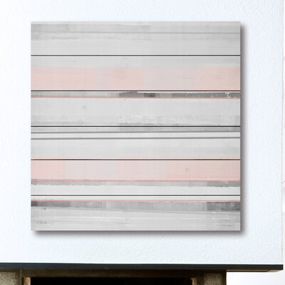 'Pink and Gray' Painting Print on White Wood Size: 18
