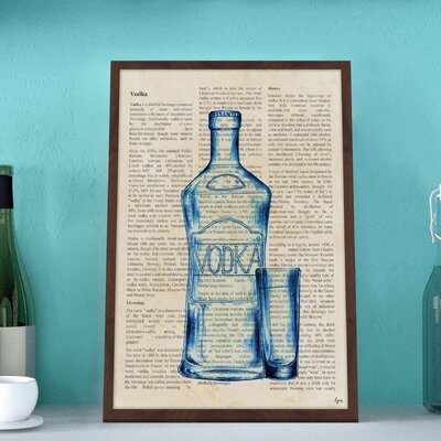 'Blue Vodka History' Framed Painting Print Size: 18