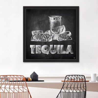 'Tequila on Chalkboard' Framed Drawing Print Size: 12