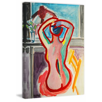 'Seated Figure' Watercolor Painting Print on Wrapped Canvas Size: 18