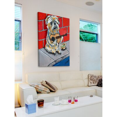 'Brussels Griffon Guitar' Painting Print on Wrapped Canvas Size: 18