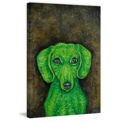 'Dachshund Green' Painting Print on Wrapped Canvas Size: 18