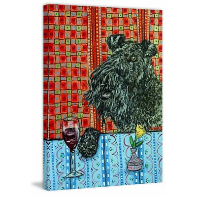'Kerry Blue Terrier Wine' Painting Print on Wrapped Canvas Size: 18