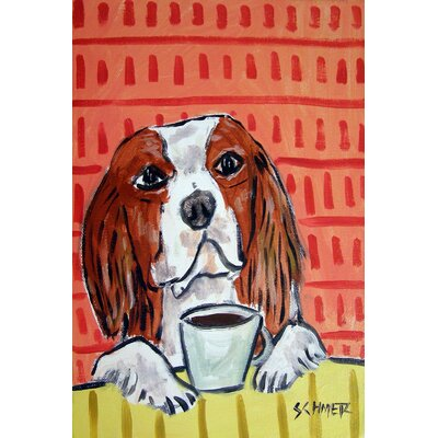 'King Charles Cavalier Coffee' Painting Print on Wrapped Canvas Size: 18