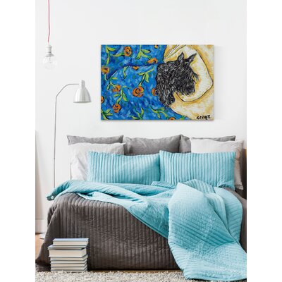 'Scottish Terrier Sleeping' Painting Print on Wrapped Canvas Size: 12