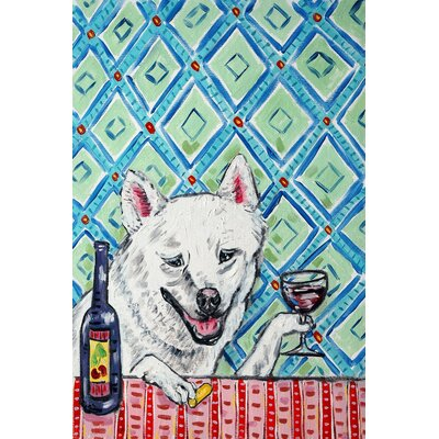 'Shiba Inu Wine' Painting Print on Wrapped Canvas Size: 18