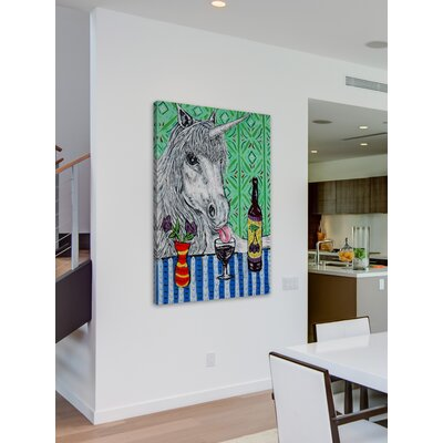 'Unicorn Wine' Painting Print on Wrapped Canvas Size: 18