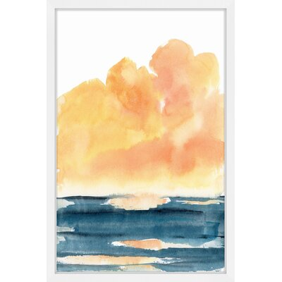 'Waterscape' Framed Watercolor Painting Print Size: 18