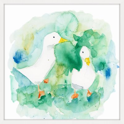 'Ducks' Framed Watercolor Painting Print Size: 12