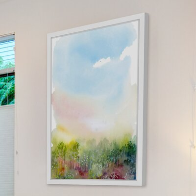'Spring Meadow' Framed Watercolor Painting Print Size: 18
