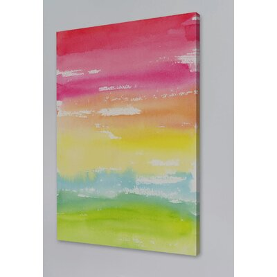 'Rainbow Land' Watercolor Painting Print on Wrapped Canvas Size: 18