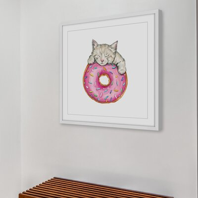 "'Donut Kitty' Framed Watercolor Painting Print Size: 48"" H x 48"" W x 1.5"" D LRUN5431 39472368"