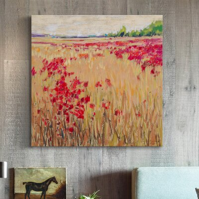 'Corn and Poppies XIII' Painting Print on Wrapped Canvas Size: 18