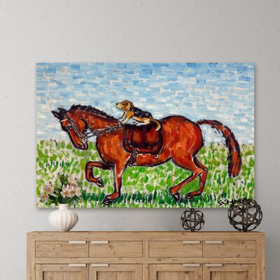 'Beagle Horse Dressage' Painting Print on Wrapped Canvas Size: 12