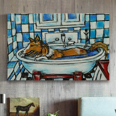 'Sheltie Bath' Painting Print on Wrapped Canvas Size: 12
