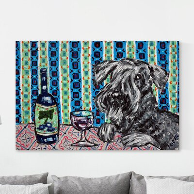 'Cesky Terrier Wine' Oil Painting Print on Canvas Size: 12
