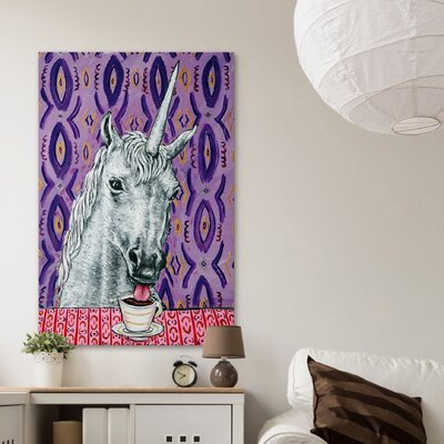'Unicorn Coffee' Painting Print on Wrapped Canvas Size: 18