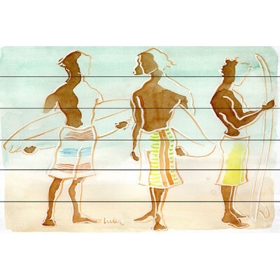 'Surfer Dudes' Watercolor Painting Print on Wood Size: 12