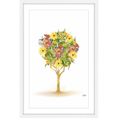 'Sunny Orange Tree' Framed Watercolor Painting Print Size: 18
