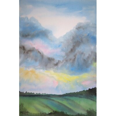 'Tempestuous Sky' Watercolor Painting Print on Wrapped Canvas Size: 18
