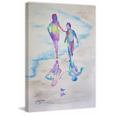 'El Paseo En La Playa' Watercolor Painting Print on Wrapped Canvas Size: 18