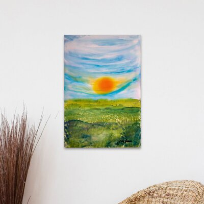 'Golden Field' Watercolor Painting Print on Wrapped Canvas Size: 18