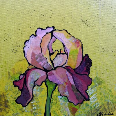 'Purple Iris II' Acrylic Painting Print on Wrapped Canvas Size: 18