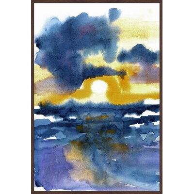 'Sunset Sketch' Floater Framed Watercolor Painting Print on Canvas Size: 18