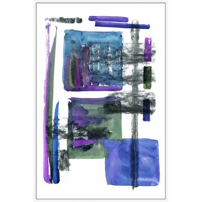 'Geometric Plan' Floater Framed Watercolor Painting Print on Canvas Size: 18