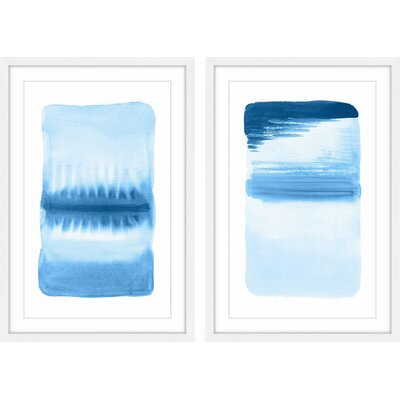 'Flows Diptych' Framed 2 Piece Watercolor Painting Print Set Size: 24