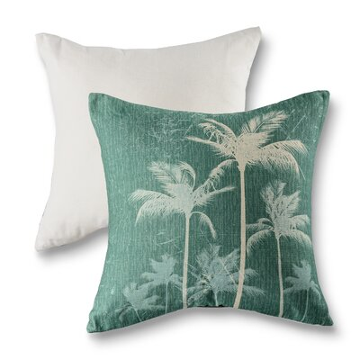 Breezy Palm Cotton Throw Pillow Color: Jade