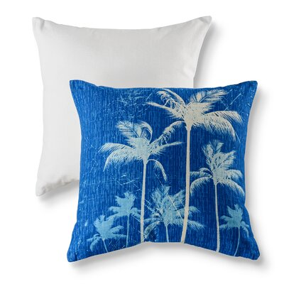 Breezy Palm Cotton Throw Pillow Color: Blue