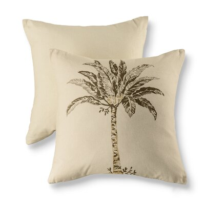Palm Natural Cotton Throw Pillow