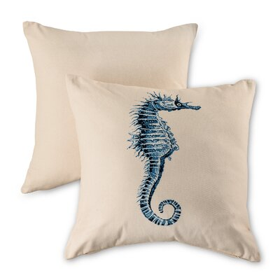 Seahorse Natural Cotton Throw Pillow