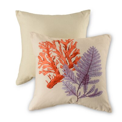 Seaweed and Coral Cotton Throw Pillow