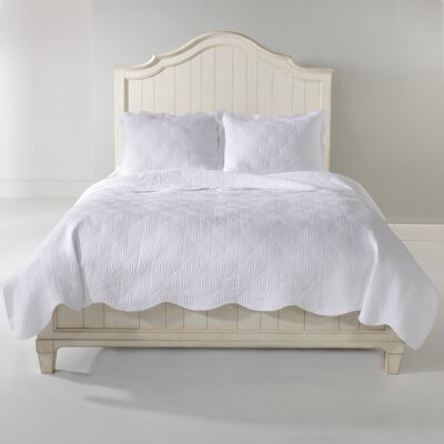 Wave Quilt Set Color: White, Size: King
