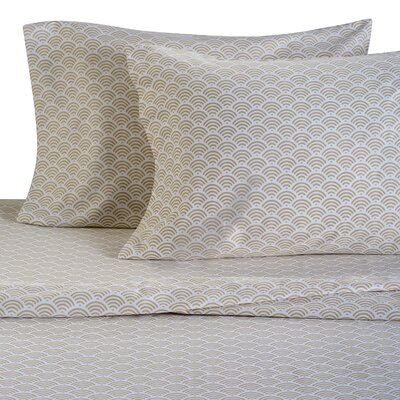 Waves 300 Thread Count Cotton Sheet Set Size: Full, Color: Sand
