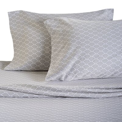 Waves 300 Thread Count Cotton Sheet Set Size: Full, Color: Pebble Grey