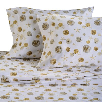 Sand Dollar 300 Thread Count Cotton Sheet Set Size: King, Color: Sand