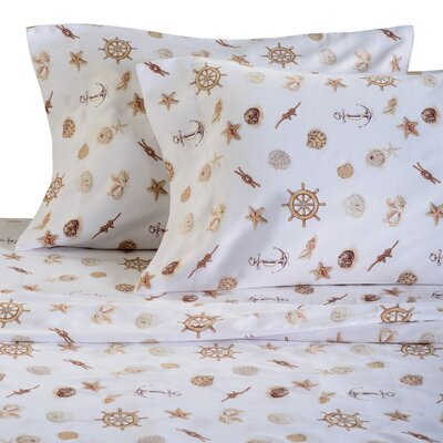 Nautical 300 Thread Count Cotton Sheet Set Size: King, Color: Neutral