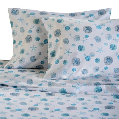 Sand Dollar 300 Thread Count Cotton Sheet Set Size: Full, Color: Blue