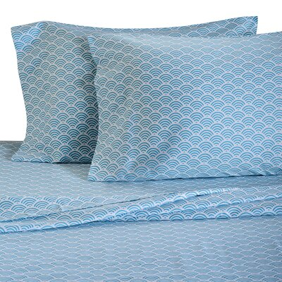 Waves 300 Thread Count Cotton Sheet Set Size: Full, Color: Ocean Blue